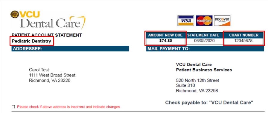 Image of patient account statement